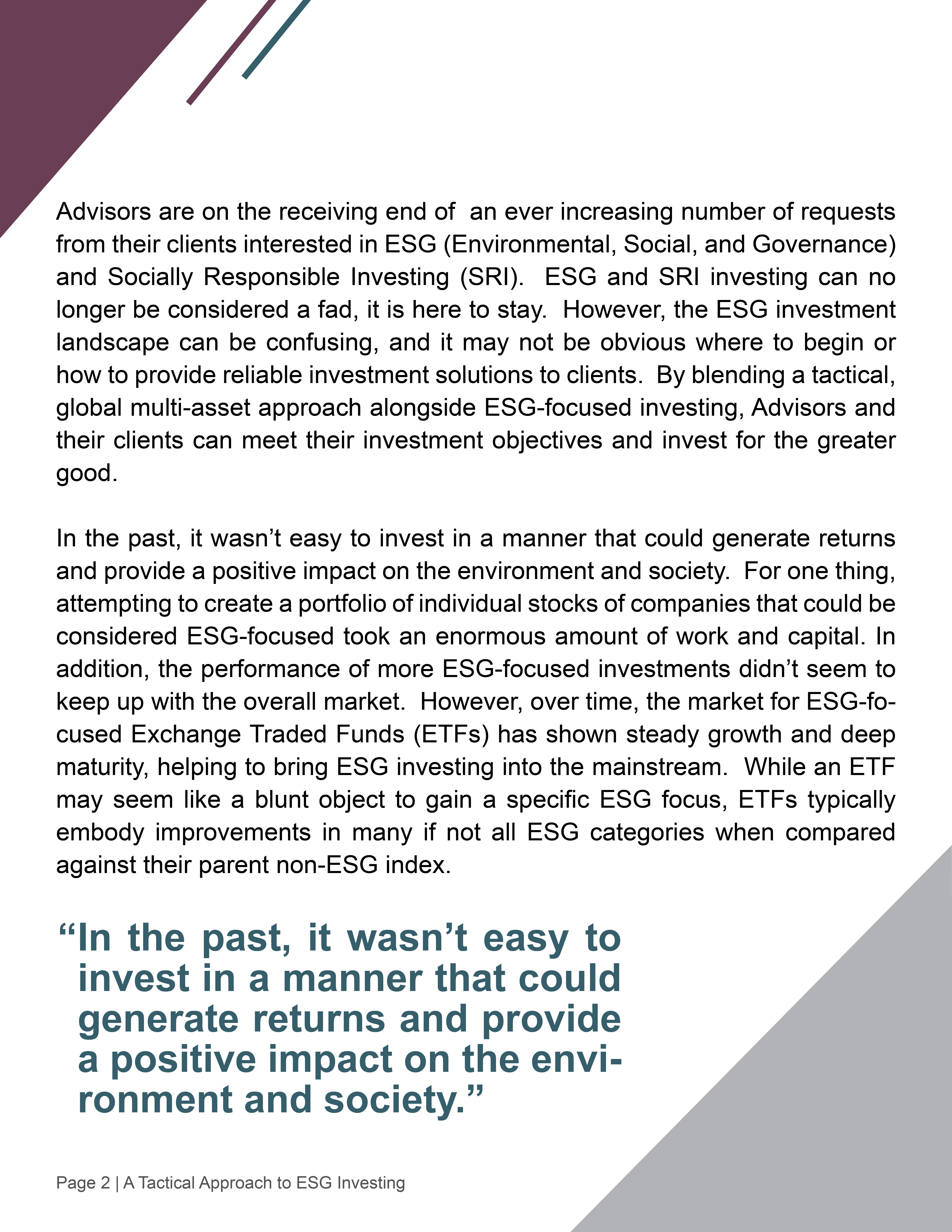 A Tactical Approach to ESG Investing2